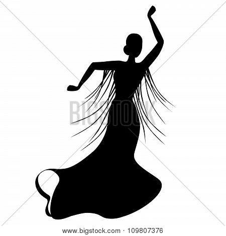 Black silhouette of female flamenco dancer
