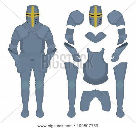Medieval knight armor parts