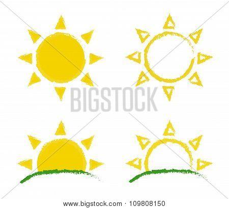 Sun and sunrise grunge emblem set