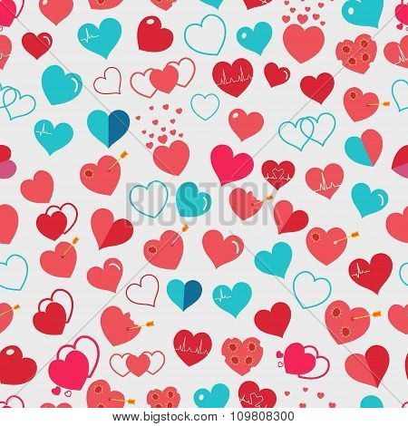 Seamless Pattern Of Red And Light Blue Hearts. Flat Design