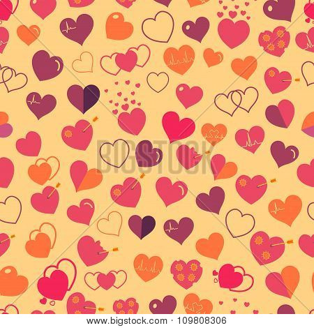 Seamless Pattern Of Red Hearts. Flat Design