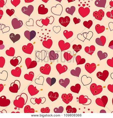 Seamless Pattern Of Red And Maroon Hearts. Flat Design