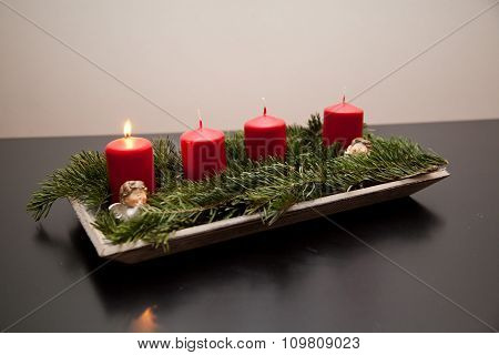 Advent Candles. First Of Advent