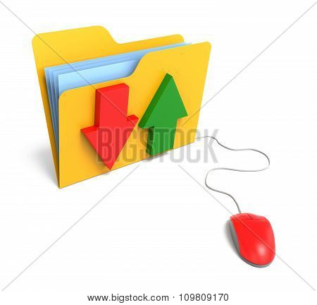Yellow Computer Folder With Arrow And Computer Mouse. File Transfer Consept.