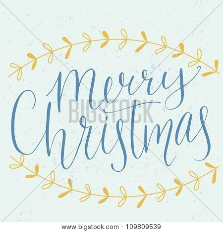 Merry christmas type. Modern calligraphy made with dip pen, vector lettering with hand drawn borders