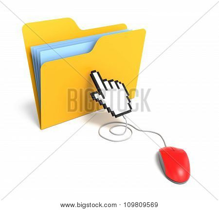 Yellow Folder Connected To Mouse With Hand Cursor. 3D Rendering
