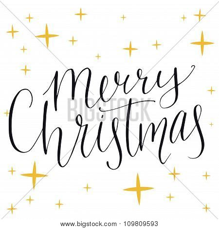 Merry christmas text. Modern calligraphy type made with dip pen, vector lettering on shiny yellow st
