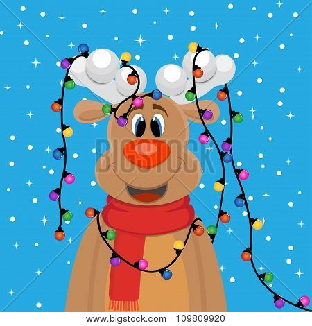 animated deer in a scarf