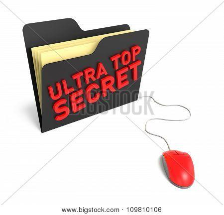 Ultra Top Secret Folder. Isolated White Background