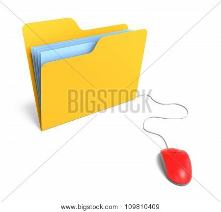 Yellow Folder Connected To Mouse. 3D Rendering