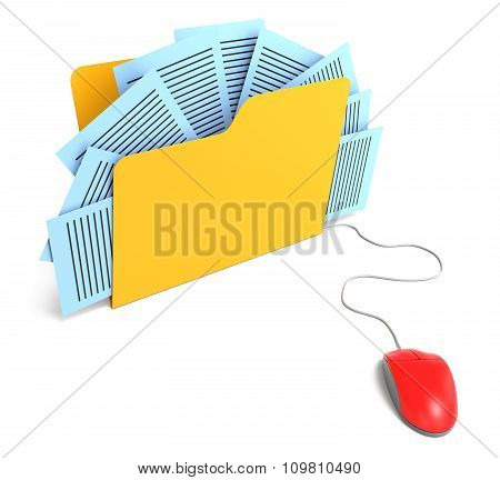 Document Folder Connected To Mouse. 3D Rendering