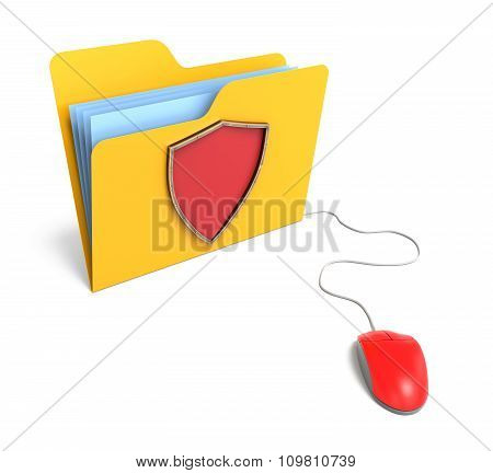 Yellow Computer Folder With Shield. 3D Rendering