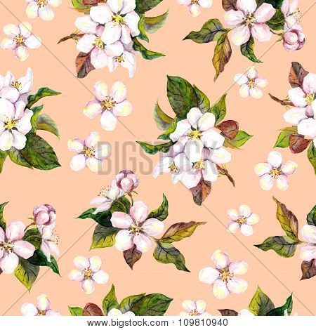 Seamless floral swatch with watercolor painted blooming japanese cherry flower on pink background