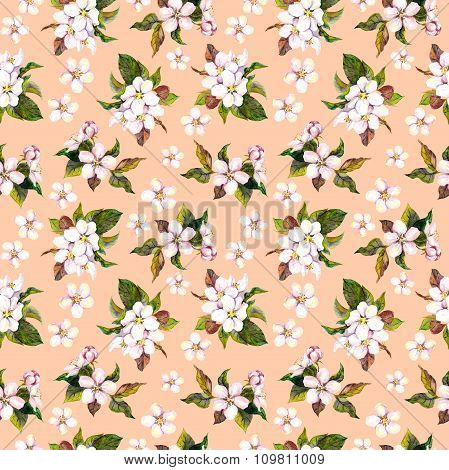 Seamless floral wallpaper with aquarell hand painted apple cherry flower blooming on pink background