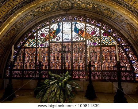 Mount Tabor, Israel, July 10, 2015: Ornate Stained With Peacocks And Gilding In The Church Of The Tr