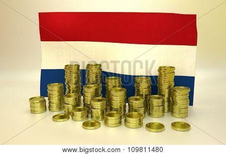 Golden coins and Netherlandish flag