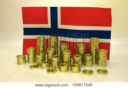 Golden coins and Norwegian flag