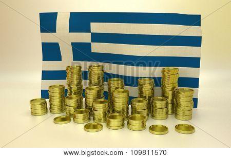 Golden coins and Greek flag