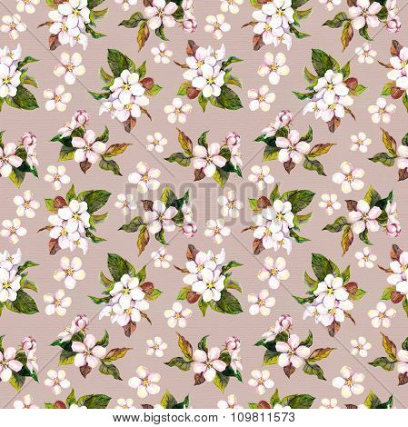 Seamless floral template with watercolor drawn apple tree flowers blossom on brown paper texture