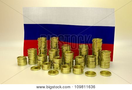 Golden coins and Russian flag