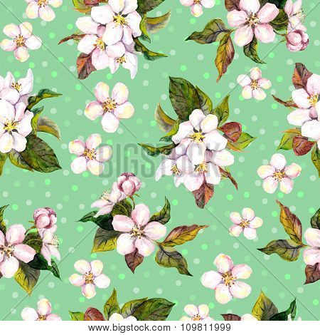 Seamless floral template with watercolour painted cherry tree flowers on green background with peas