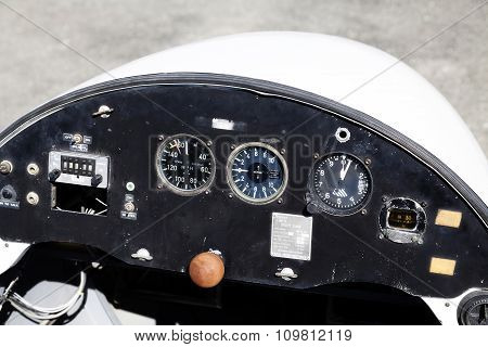 Pilot Control Panel Of Old Glider Plane