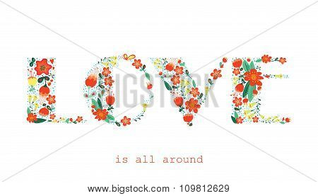 Floral Card With Love Word