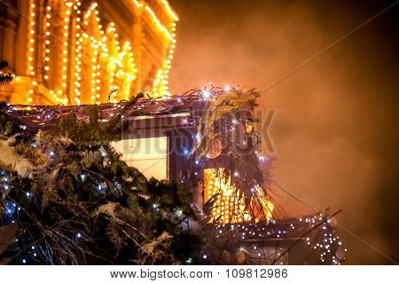 Christmas night with decorated building exterior in Europe City