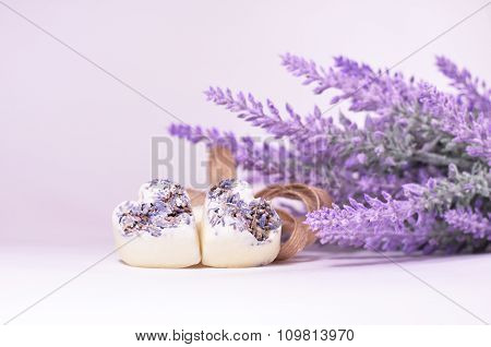 Lavender flowers and spa hearts