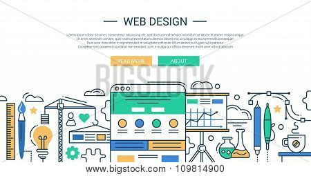Illustration of modern line flat design composition and infographics elements with website developme