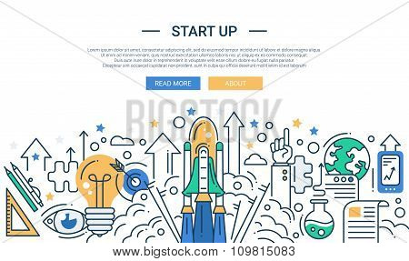 Illustration of modern start up line flat design composition and infographics elements with a shuttl