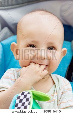 Happy Baby Boy Sitting In A Blue Stroller