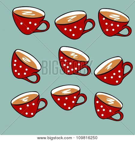 Christmas red polka-dot cups with hot coffee, tea and cocoa