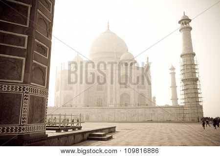 Taj Mahal In The Mist, India - Vintage