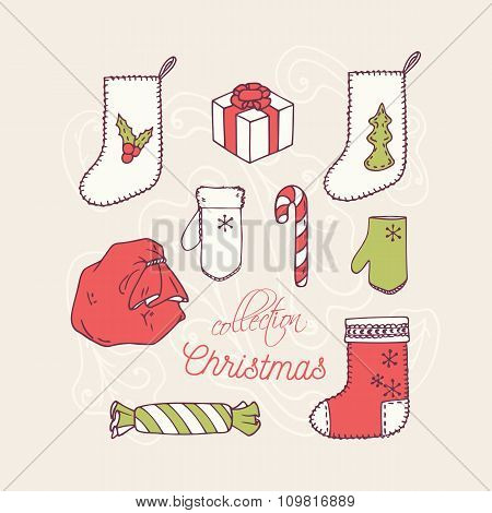 Christmas holiday decoration icons collection. Frosty ornament background