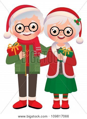 Senior Married Couple With Christmas Gifts