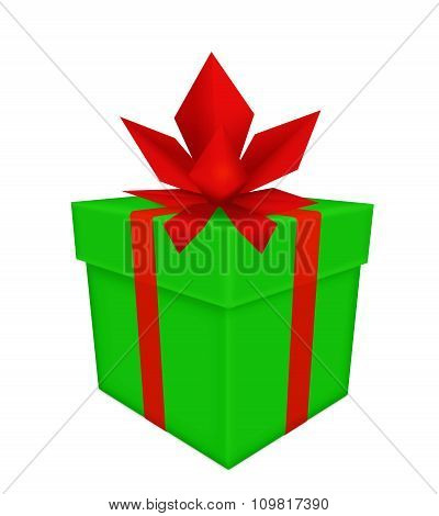 Green Gift With Red Bow And Ribbon Isolated On White