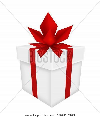 White Gift With Red Bow And Ribbon Isolated On White