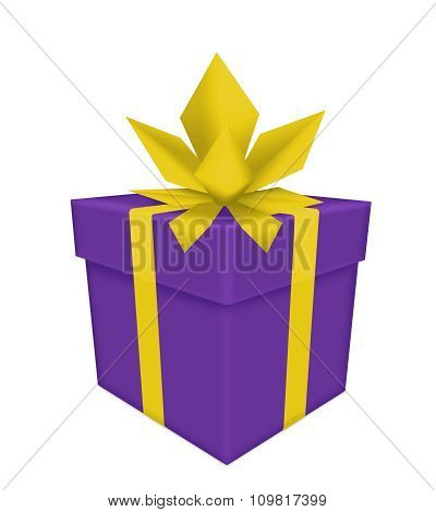 Purple Gift With Golden Bow And Ribbon Isolated On White