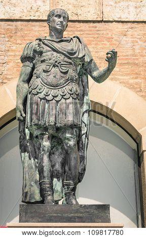 Statue Of Gaius Julius Caesar In Rimini Italy