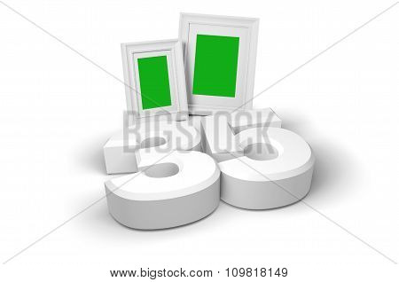 Picture Frame With White Background And Number 35