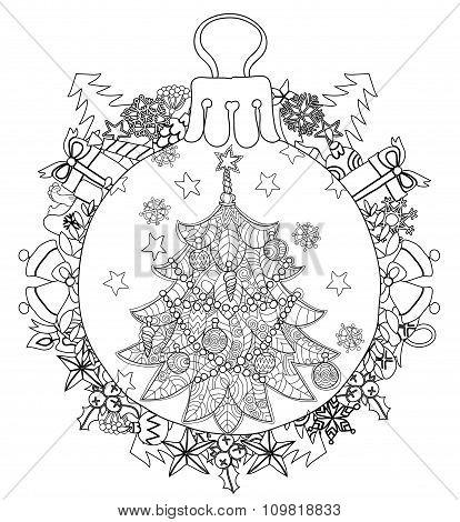 Hand drawn Christmas glass ball fir tree doodle