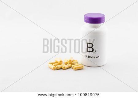 Bottle of B2 vitamins