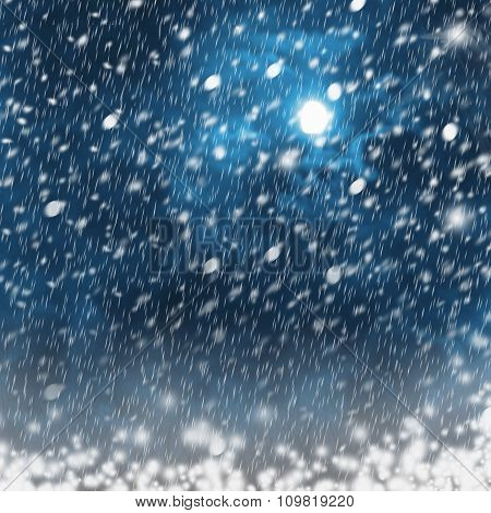 Bright Moon In Background Of Snowy Night Landscape