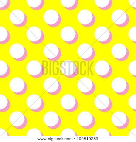 Tile vector pattern with white polka dots and pink shadow on yellow background