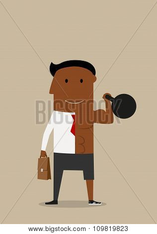 Double businessman with kettlebell and briefcase