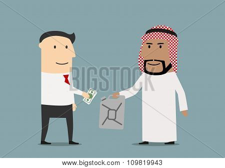 European and arabian businessmen making business