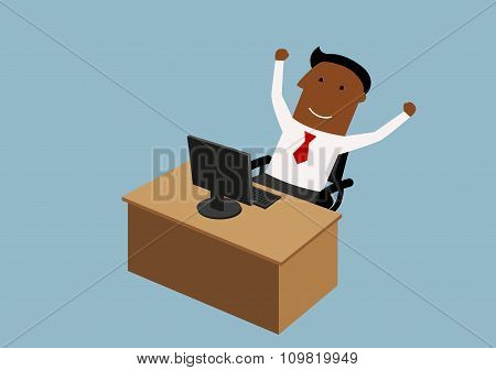 Happy cartoon businessman working in office