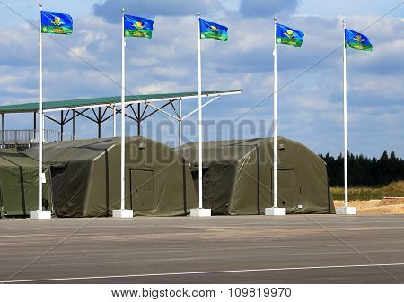 RYAZAN REGION - AUGUST 3: Tents for placement of personnel on military range - on August  3, 2015  in Ryazan region