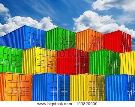 Colorful Stacked Freight Shipping Containers